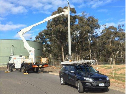 Electrical linesman performing maintenance in regional Victoria, Australia